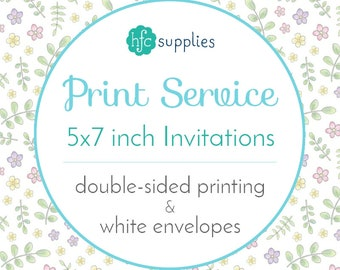 Printed Invitations / Announcements Add On - 5x7 inch Double Sided, Professional Printing Service, Standard Matte Card Stock with Envelopes