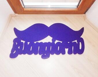 """Italian doormat moustache. Floor mat """"Buongiorno"""" with mustache. Welcome rug"""
