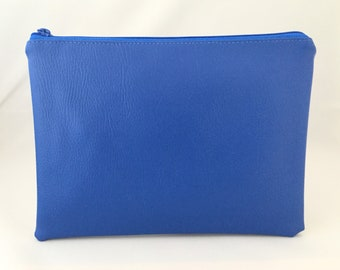 Nappy clutch/pouch made in Blue faux leather. Colourful wash bag, travel bag, zippered bag, nappy bag. Gender neutral. Bright