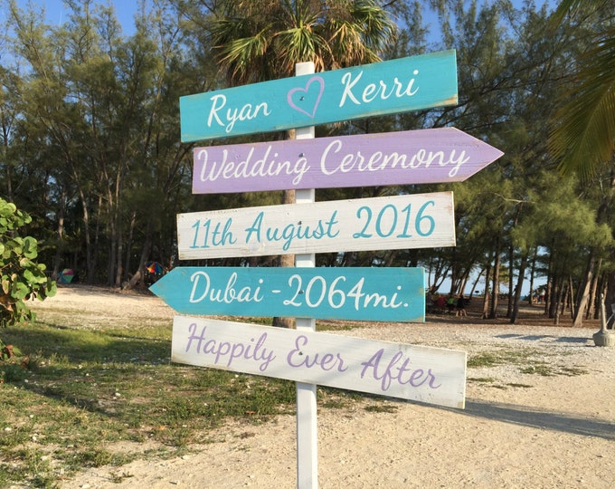 Rustic Wedding Beach Sign, Happily Ever After, Tiffany Blue Wedding Decor, Directional Wedding Sign gift