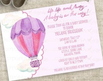 Baby Mädchen Aquarell Heißluft Ballon Baby Shower Einladung in rosa und lila personalisierte digitale Datei mit professioneller Druck-Option