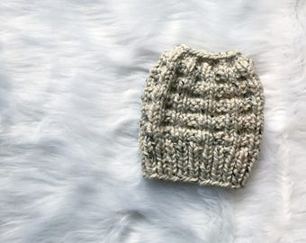 Knit Messy Bun Beanie, Teen/Adult, Oatmeal