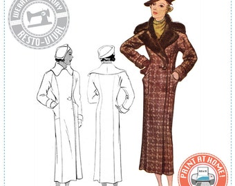 E-Pattern-  Circa 1934 Coat Pattern- Bust 36- Wearing History PDF Vintage Sewing Pattern 1930 30s