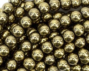 """10mm pyrite hematite round beads 15.5"""" strand 38961"""