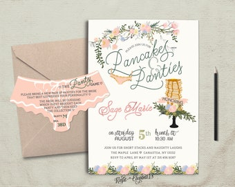 Pancakes and Panties.5x7 Inches-Lingerie Shower Invite.Whimsical Invite.Bachelorette Party Invite