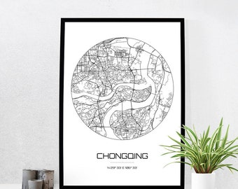Chongqing Map Print - City Map Art of Chongqing China Poster - Coordinates Wall Art Gift - Travel Map - Office Home Decor