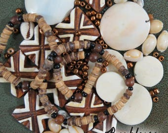 Bead Lot, OOAK Tiki Shell Bead Blend, Bead Assortment, Hawaiian Inspiration, Salvaged Beads