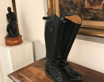 Womens Black Leather Equestrian Knee-high Boots Size 6 Medium