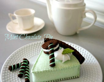 Mint Chocolate Pie-Felt Food Pretend Play