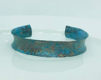 Blue Green Patina Concave and Textured adjustable Cuff Copper Bracelet