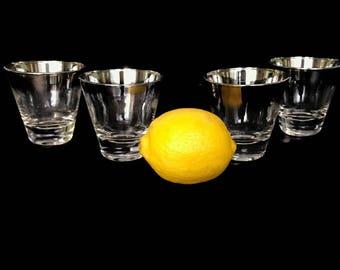 Vintage Silver Rim Ombre Shot or Cordial Glasses, Retro Barware Set of 4 Mad Men Dorothy Thorpe Drinkware, Drinking Glasses, Vintage Barware