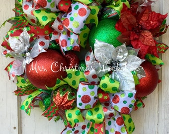 Christmas wreath, ornament wreath, deco mesh wreath, poinsettia wreath, traditional Christmas wreath, silver Christmas wreath