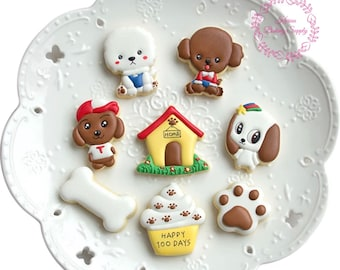 Set of 8 Cute puppy dog cookie cutter stencil