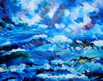 Impressionist Oceanscape Original oil painting 16 x 20 inch on stretched canvas by BrandanC