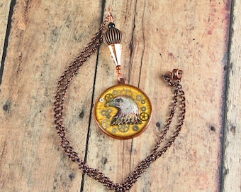 Steampunk Watch Gears Eagle Necklace, Gold with Copper necklace, Found Object Jewelry, Altered Art Jewelry, Mixed Media Necklace, Swarovski