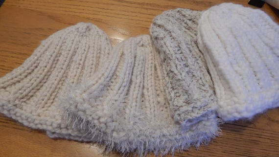 Hats Four  Hand Knit Kid to Adult Rib Knit Off White, White, Marble, Beige Ready to Ship