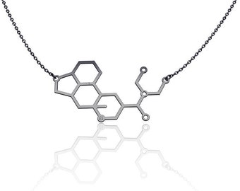 LSD Molecule necklace  necklace -Sterling Silver chemistry jewelry science jewelry