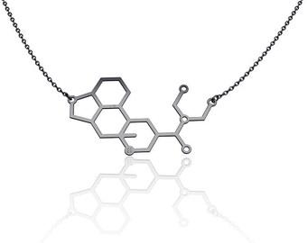 LSD Molecule necklace  necklace -Sterling Silver chemistry jewelry science jewelry