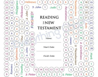 New Testament Reading Chart - PDF File/Printable