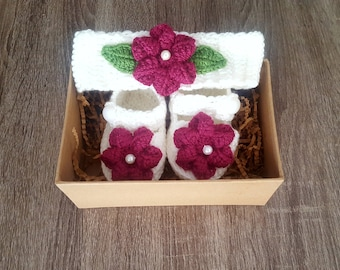 Hand Crocheted Baby Booty + Headband Set with Gift box- FREE SHIPPING