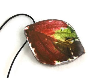 Leaf pendant necklace polymer autumn colors with adjustable cord