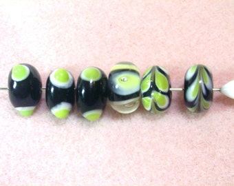 6 Glass Rondelle Beads - Assorted  Green and Black - De-Stash No. 1709