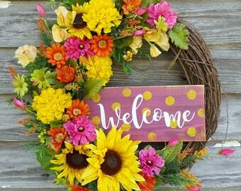 Farmhouse wreath, Grapevine wreath, Summer wreath, Front door wreath