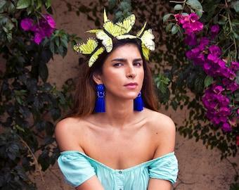 Moonlight Festival Butterfly Fascinator, Easter Bonnet Headpiece, Headdress, Headband, Festival Crown, Neon Headpiece