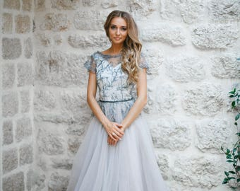Blush wedding dress, Bohemian wedding dress, Beach wedding dress, Long sleeve wedding dress, Tulle wedding dress, Unique wedding dress
