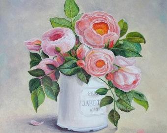 Roses Peonies Oil Painting Canvas Art Original Painting Impressionism Painting Impressionism Art Wall Art