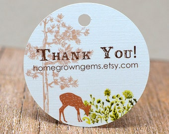 Deer Forest Tree Thank You Tags -  Hang Tag - Product Packaging - Gift Tag - Wedding - Party