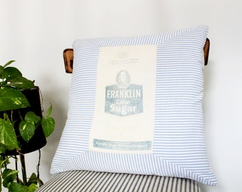 Vintage Feedsack Pillow Cover 17 x 17 Franklin Sugar Cotton Blue and White Striped Pillow, Southern Inspired Decorative Pillow, Rustic Decor