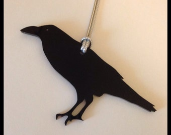 Raven Bird Holiday Ornament, Black Acrylic, Tree Ornament, Christmas Tree Home Decor, Crow Shape