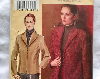 Misses Jacket Sewing Pattern // Today's Fit by Sandra Betzina // Vogue 7976 Size G H I J // XL Extra Large Plus Size // Zip Front / Pockets