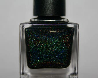 "Black Holographic Nail Polish ""Galaxy"""