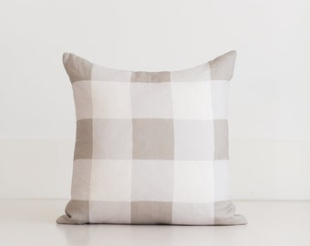 100% Linen Buffalo Check Pillow Cover, Taupe Gray Throw Pillow by Whitney English