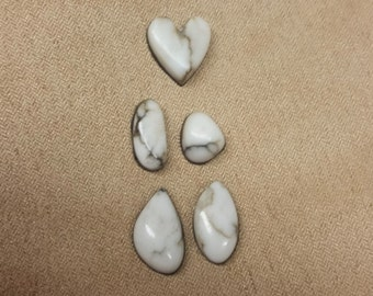 White Howlite Heart and Oval Cabochon Set/ backed/ water drop / oval/ heart