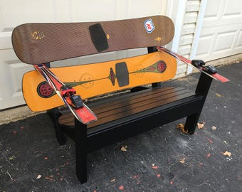 Recycled K2 Snowboard Bench with Binding Cupholders-LOWER PRICE!