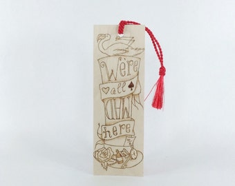Wooden Bookmark - Alice in Wonderland - Hand Pyrography - BK Inspired