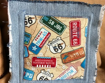 Route 66 Frayed Denim Pot Holder Hot Pad Trivet Upcycled Denim Thick Durable Denim Backed Kitchen Dining Fun Adventure Old Route 66