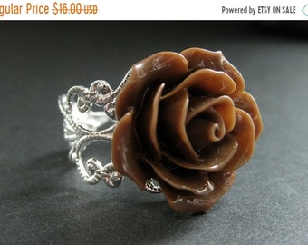 MOTHERS DAY SALE Chocolate Brown Rose Ring. Brown Flower Ring. Filigree Ring. Adjustable Ring. Flower Jewelry. Handmade Jewelry.
