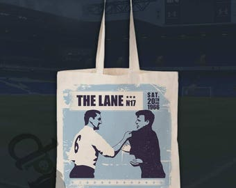 Dave & Billy - iconic encounter between Dave Mackay and Billy Bremner - natural cotton canvas shopper, groceries, gym, tote bag