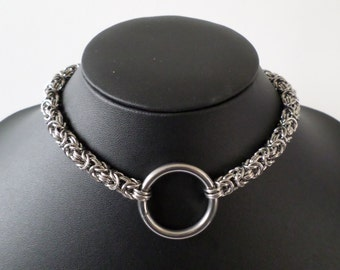 Byzantine Chainmail O-Ring Statement Choker - Stainless Steel Chainmaille Bdsm Day Collar
