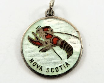 Enameled Nova Scotia with Red Lobster in the Center Sterling Silver Charm or Pendant.