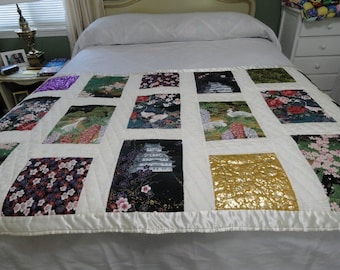 hand quilted Oriental lap or prayer quilt by Karrirose