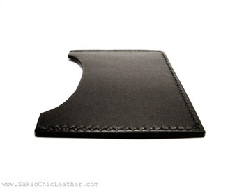 Chic Leather Card Holder Black Calf Horizontal, Case ID Business Credit Gift Card Wallet, Leather Wallet