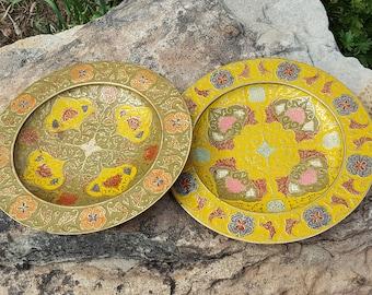 "Vintage Brass & Enamel Plates~Pair 8"" Decorative Plates~Lovely Moorish Design~Green/Yellow Enamel on Brass~India Brass Dish~JewelsandMetals"