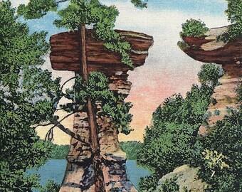 Vintage 1930's Wisconsin Dells Postcard Stand Rock