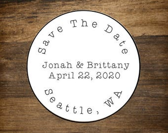 "Save the Date labels, personalized stickers, envelope seals.  2"" round stickers, set of 20.  Matte white or Kraft brown."