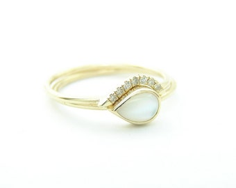 Wedding Set, pear mother of pearl ring & pave diamonds ring, wedding band, thin gold ring, engagement ring, teardrop ring